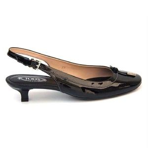 NEW Tod's Black Patent Slingback Pump,  5.5-6